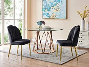 Iconic Home Chelsea Dining Side Chair Vertical Channel Quilted Velvet Upholstered Crown Top Back and Seat Solid Gold Tone Metal Legs (Set of 2) Modern Contemporary, Black