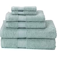 Ariv Collection Premium Bamboo Cotton 6-Piece Towel Set (2 Bath Towels, 2 Hand Towels and 2 Washcloths) - Natural, Ultra Absorbent and Eco-Friendly (Duck Egg)