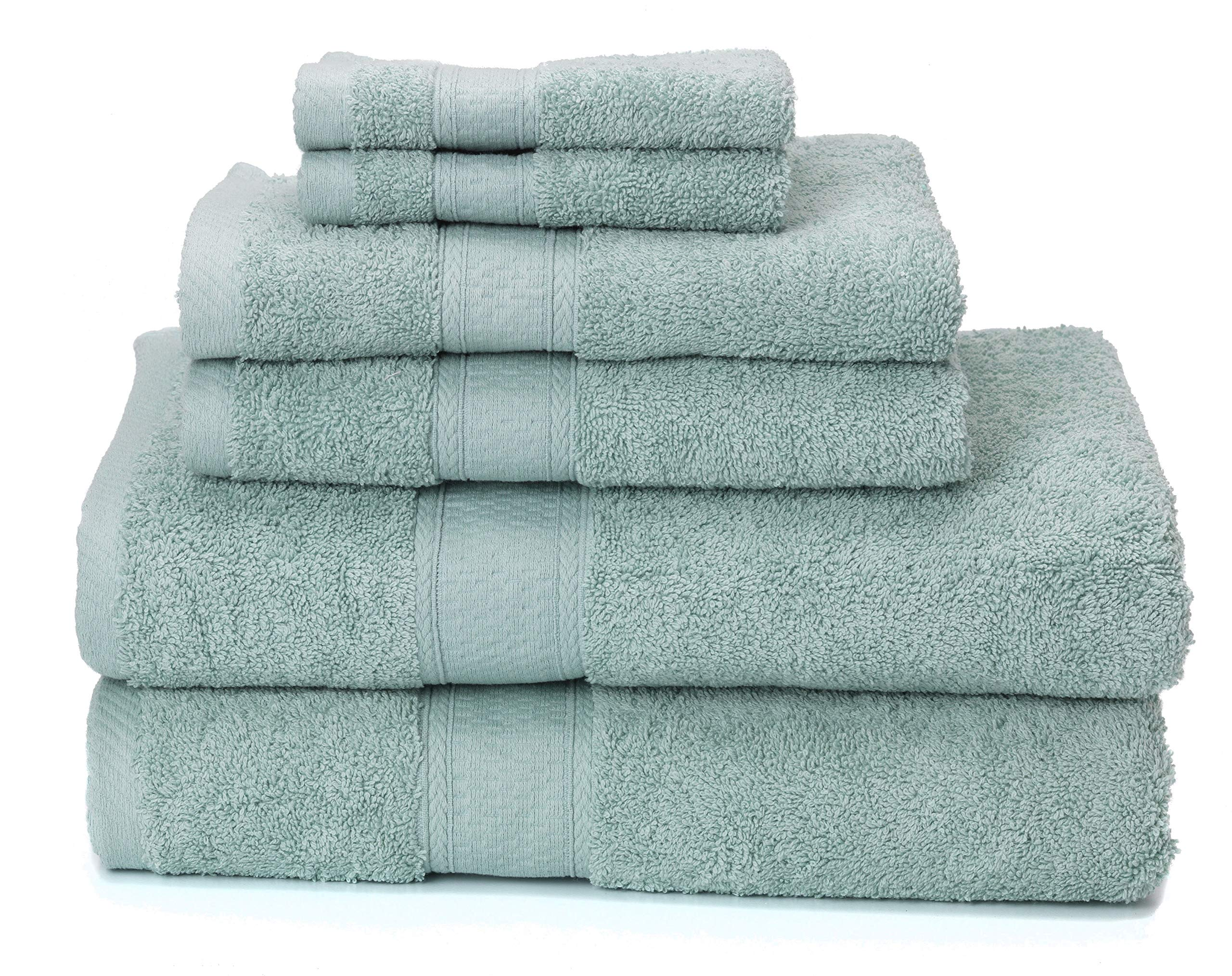 Ariv Collection Premium Bamboo Cotton 6-Piece Towel Set (2 Bath Towels, 2 Hand Towels and 2 Washcloths) - Natural, Ultra Absorbent and Eco-Friendly (Duck Egg) by Ariv Collection