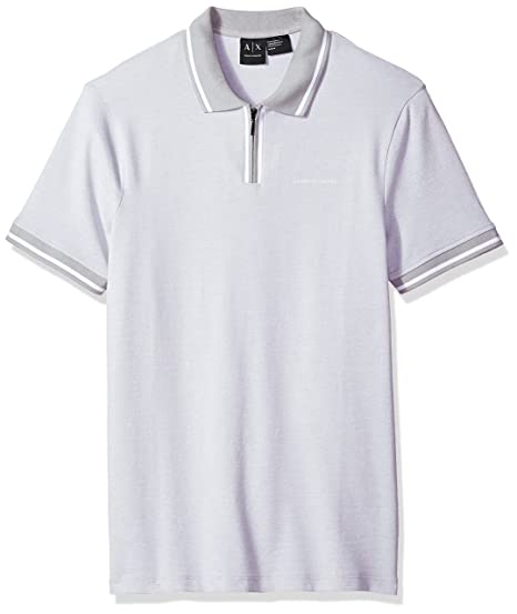 6ff440d6 Amazon.com: A|X Armani Exchange Men's Pique Short Sleeve Front Zip ...