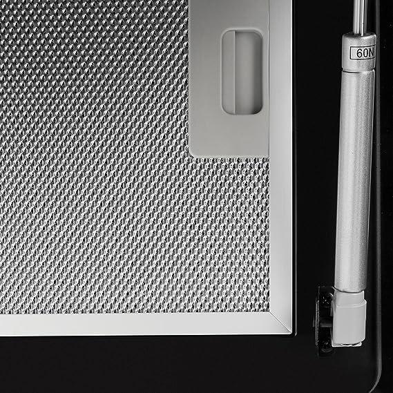 Klarstein Aurica 60 - Campana de extracción, Extractor con 3 potencias, Succión de hasta 620m³/h, Absorción de aire, Circulación, 60cm de ancho, Acero inoxidable, Filtro de aluminio, Negro: Amazon.es: Hogar