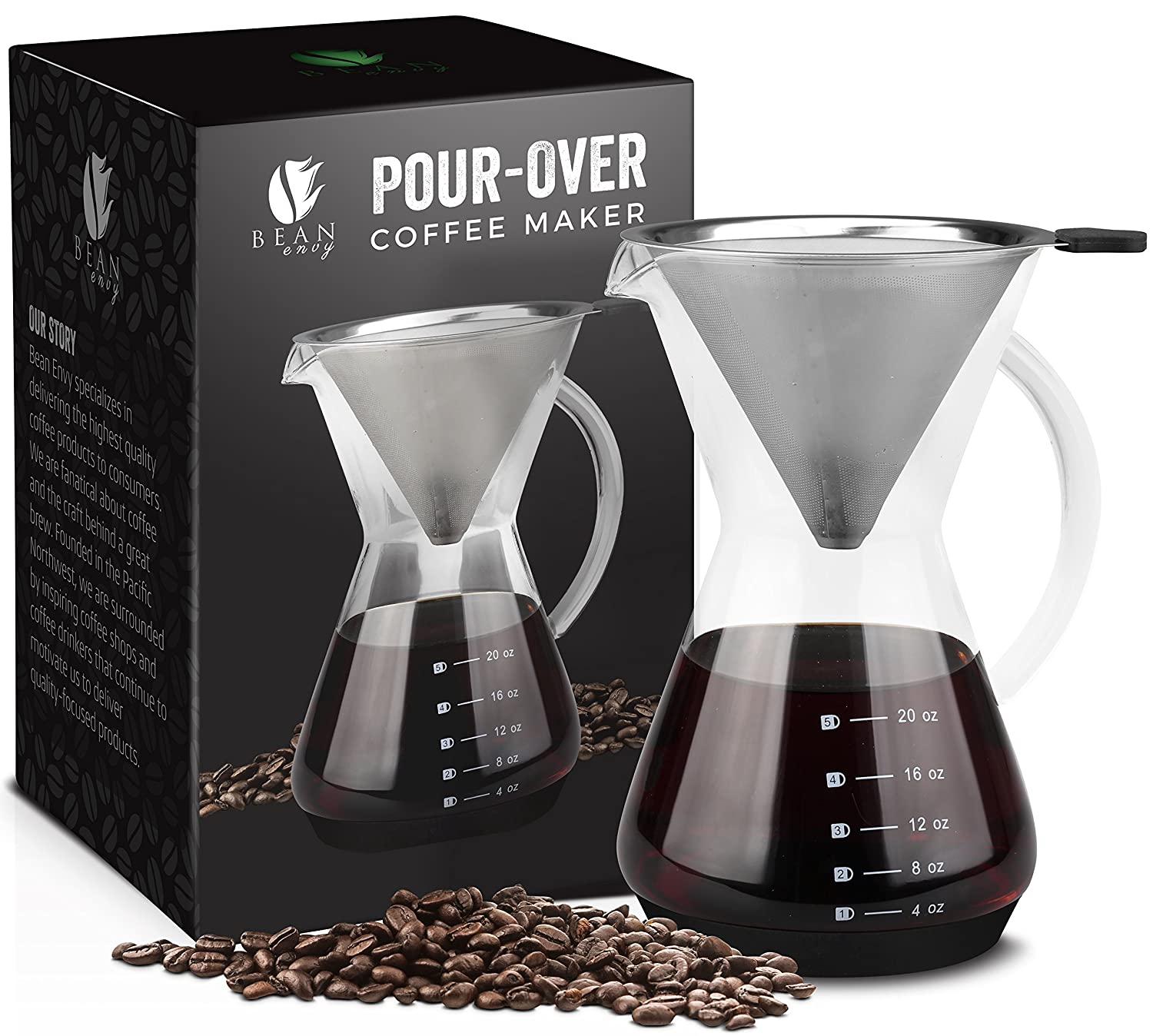 Bean Envy Pour Over Coffee Maker - 20 - oz Borosilicate Glass Carafe - Rust Resistant Stainless Steel Paperless Filter/Dripper - Includes Patent Pending Silicone Sleeve
