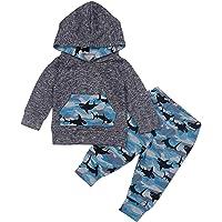 AGAPENG Baby Boys Clothes Baby Shark Doo Doo Doo Long Sleeve Hoodie Tops Sweatsuit + Pants Outfit Set