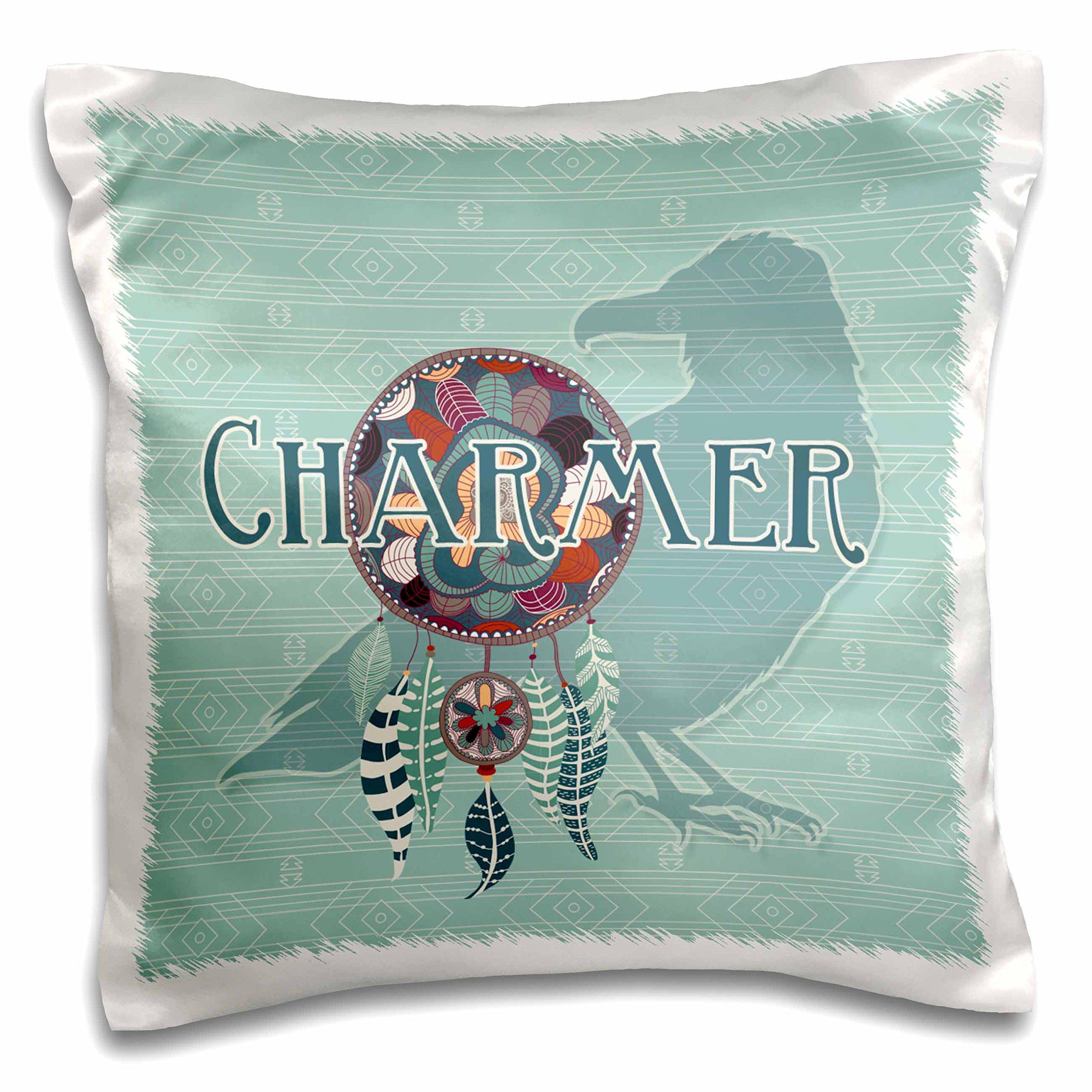 3dRose Raven Crow Native American Animal Spirit with Dream Catcher Charmer Pillow Case, 16 x 16''