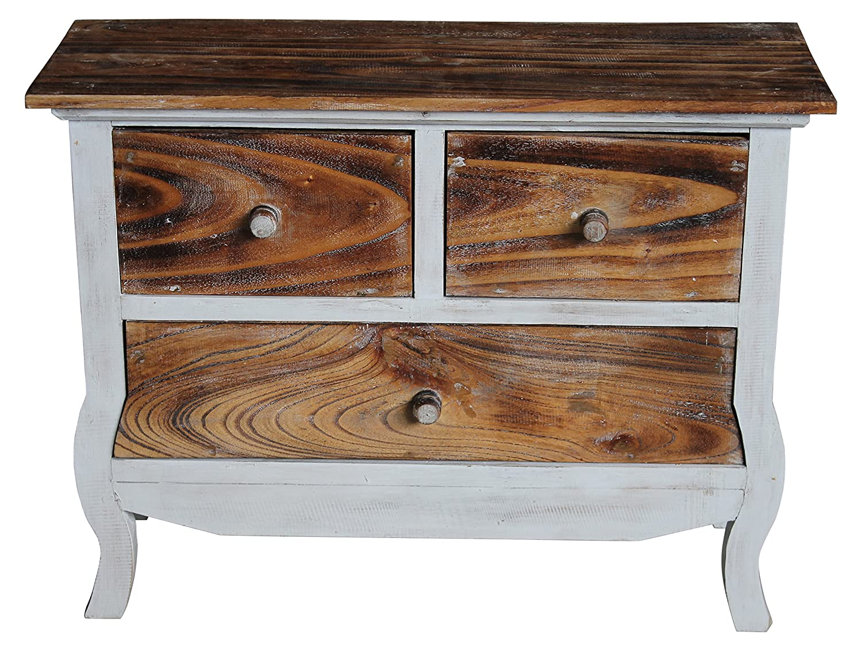 Wohnkult Sideboard Schrank Kommode aus Holz Beistelltisch 75 cm x 30 cm x 57 cm 4 Farben Telefontisch Konsole Nachttisch fertig montiert (Hellbraun) Weiß Braun