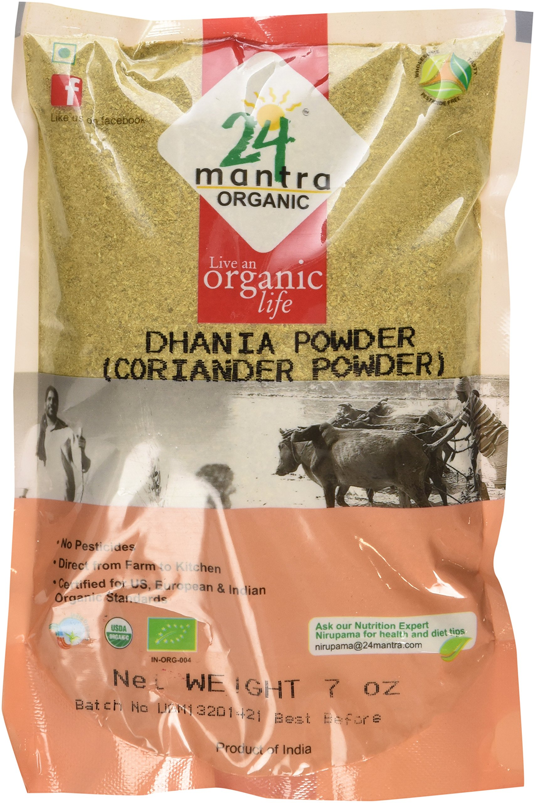 Organic Coriander Powder - Coriander Seeds Powder - ★ USDA Certified Organic - ★ European Union Certified Organic - ★ Pesticides Free - ★ Adulteration Free - ★ Sodium Free - Pack of 3 X 7 Ounces (21 Ounces) - 24 Mantra Organic