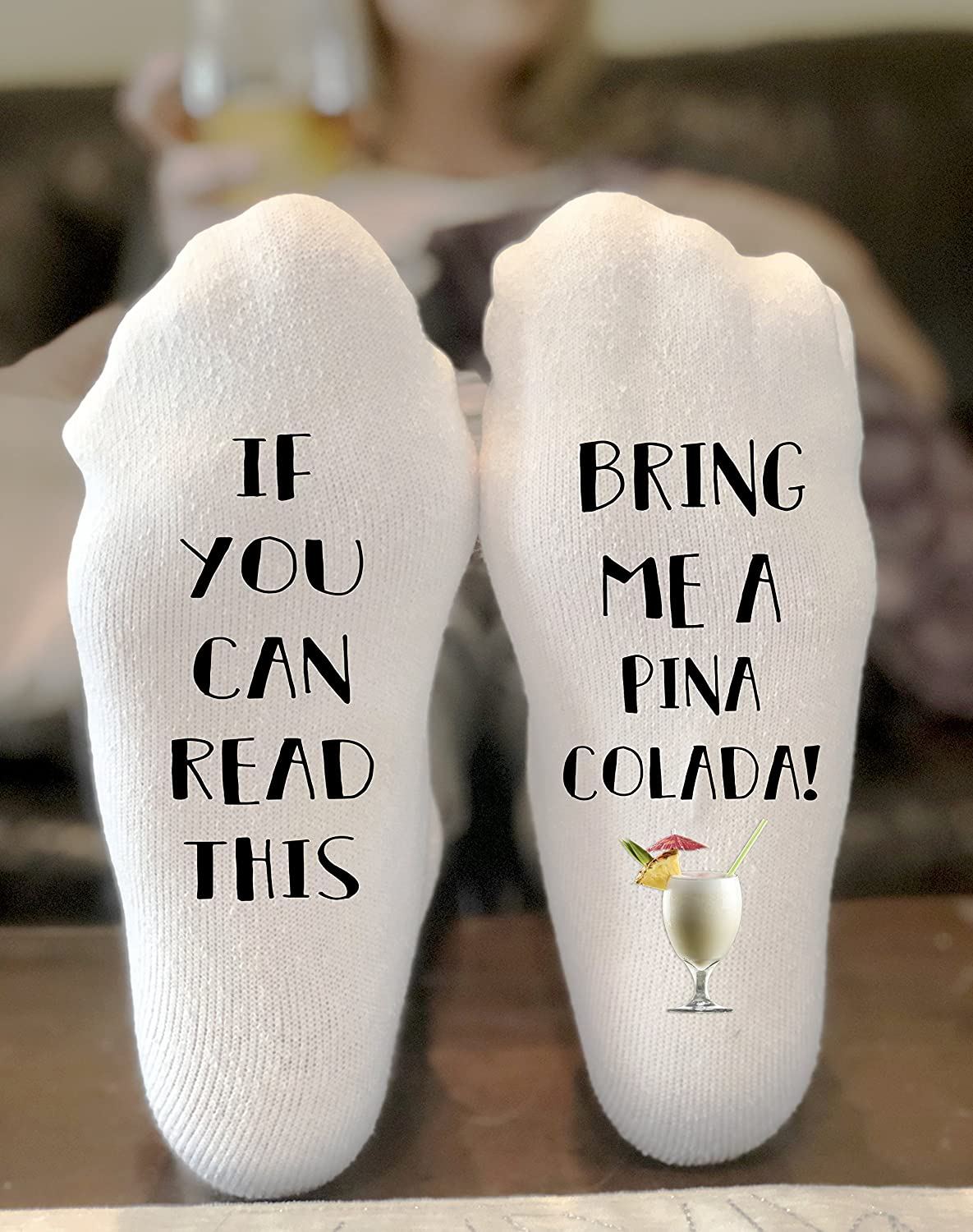 If You Can Read This Bring Me A Pina Colada Novelty Funky Crew Socks Men Women Christmas Gifts Cotton Slipper Socks