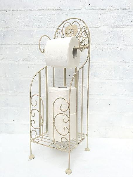 Stylish Shabby Chic Bathroom Heart toilettes Roll Holder Storage Stand Cream