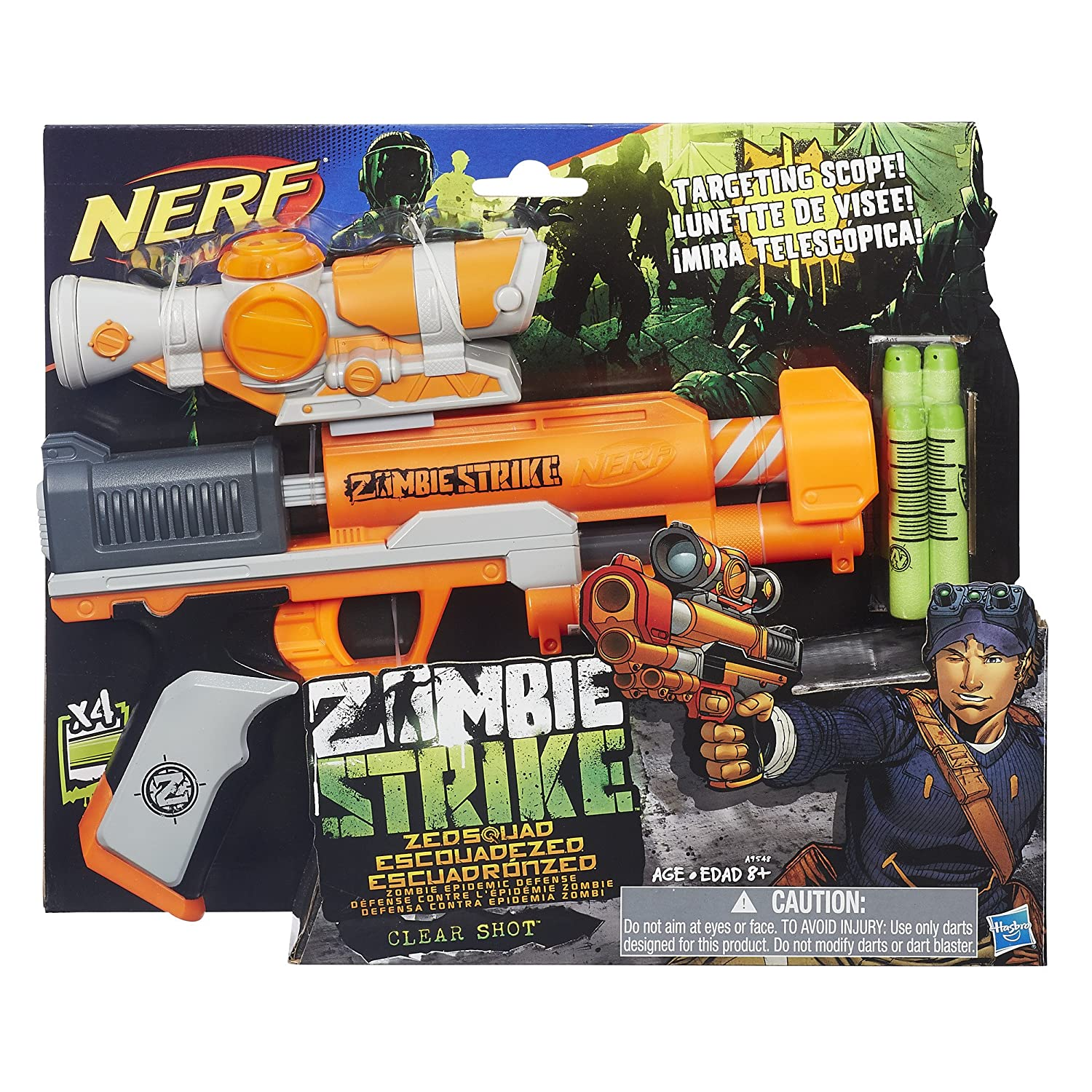 Amazon Nerf Zombie Strike ZED Squad Clear Shot Blaster Toys & Games