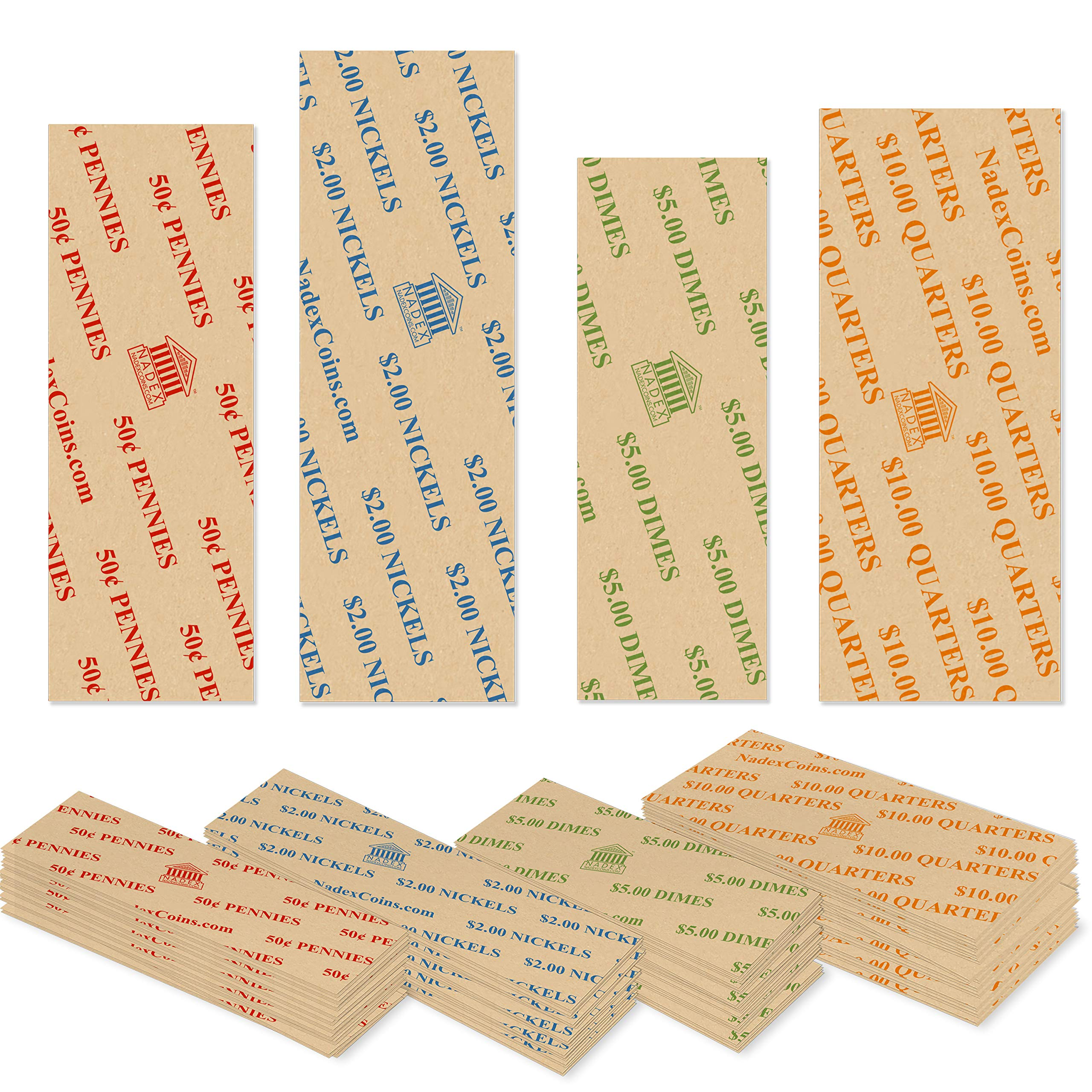 1000 Coin Roll Wrappers for U.S. Coins -125 Each of Penny, Nickel, Dime and Quarter Wrappers Separated and Color Coded to ABA Standards, Classic Style