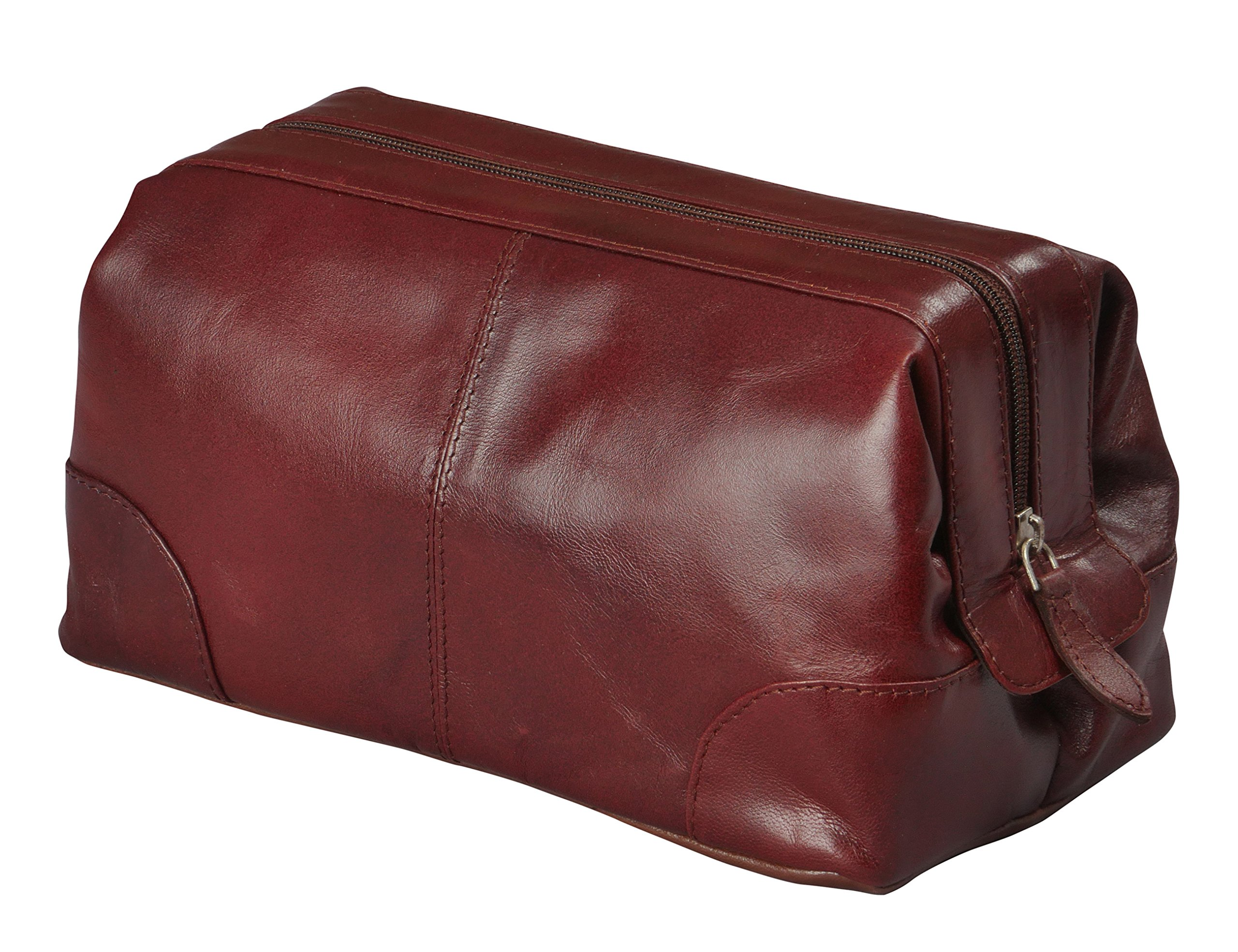 Mens Toiletry Bag Dopp Kit by Bayfield Bags-Small Compact Minimalist Glossy Leather Shaving Kit For Toiletry Travel Bag (10x5x5) (burgundy) Men's Toiletries Bag, Organizer Grooming Kit For Men by Bayfield Bags
