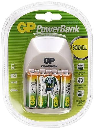 GP PowerBank Nite Lite - Cargador con 4 pilas recargables AA / 2600 mAh NiMH y luz nocturna, color blanco