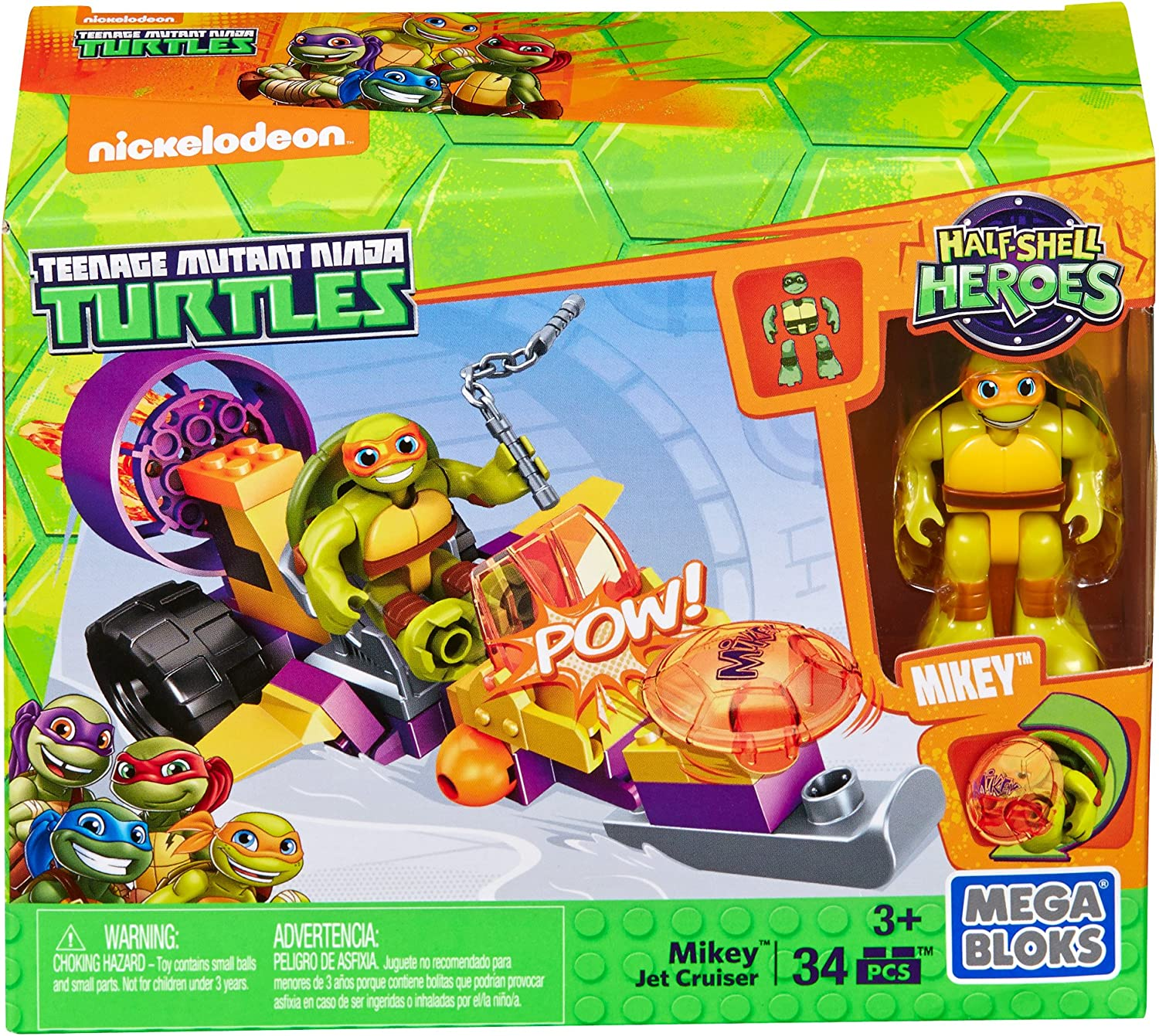 Mega Construx Teenage Mutant Ninja Turtles Half-Shell Heroes Mikey's Jet Cruiser