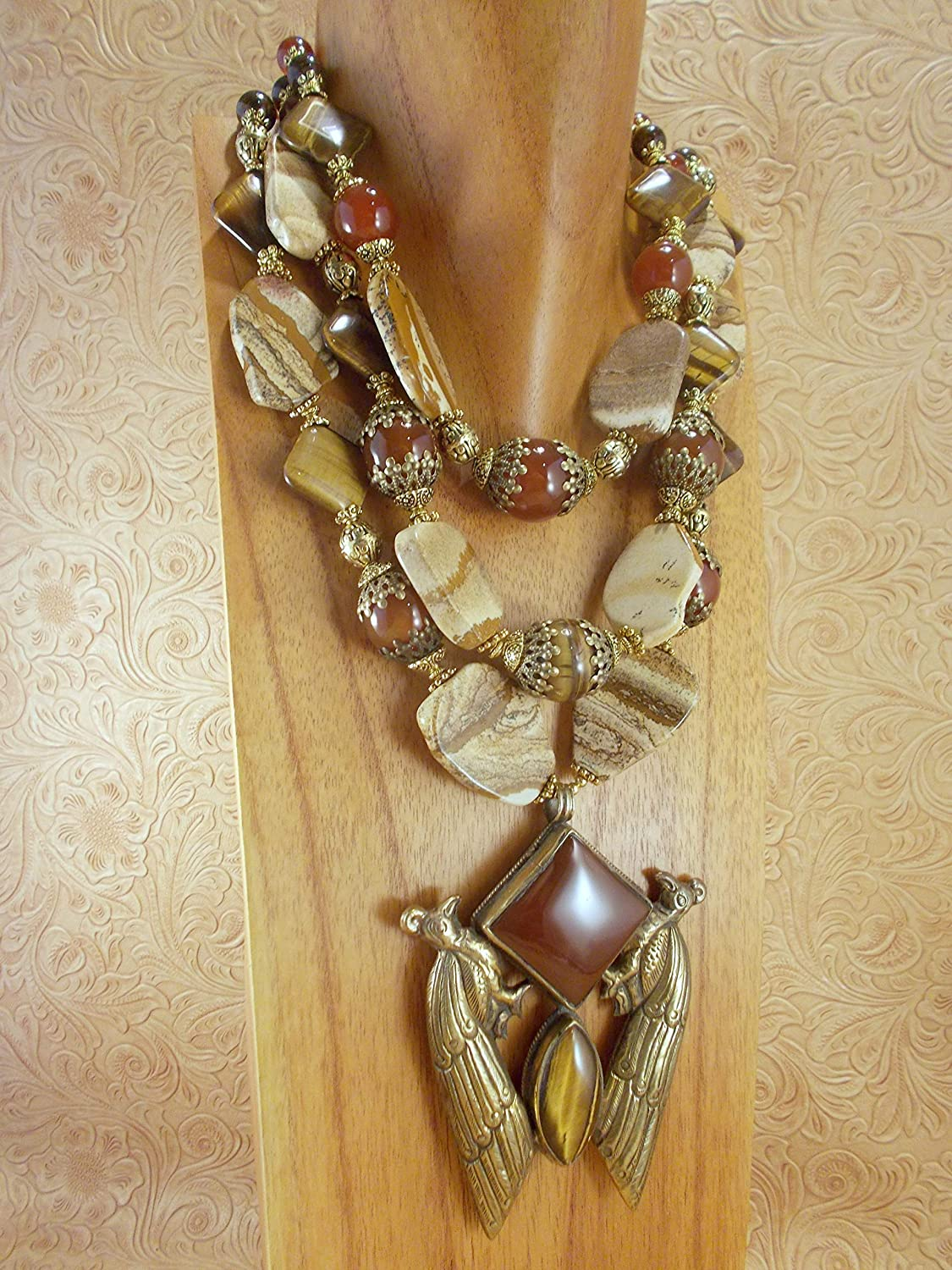 Greek Inspired Bold Necklace Natural Agate Statement Necklace