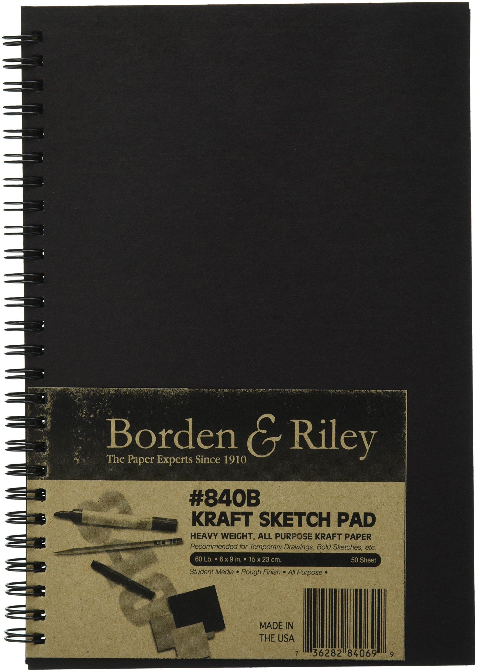 Borden & Riley #840B Kraft Paper Hard Cover Spiral Bound Sketchbook, 6 x 9