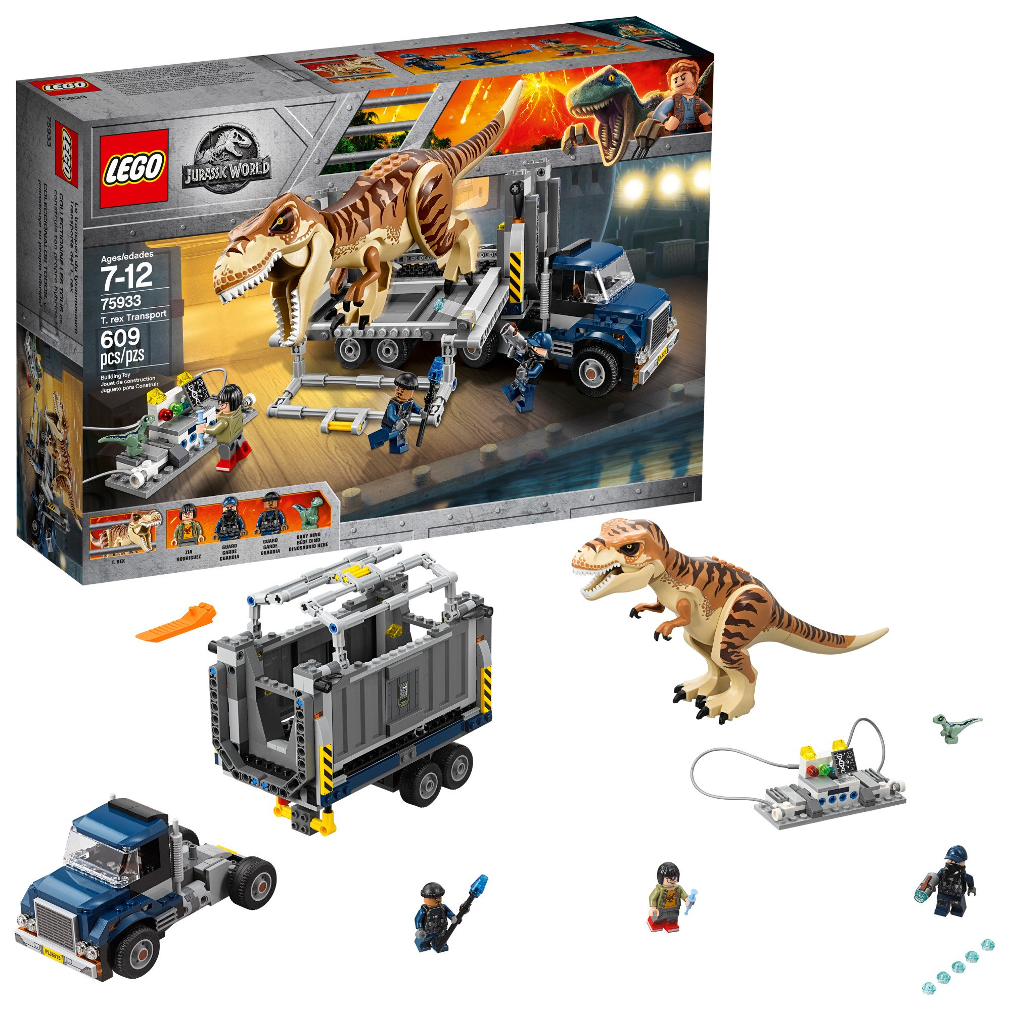 LEGO Jurassic World T. Rex Transport 75933 Building Kit (609 Piece), Multi