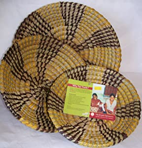 "Set of Three Fair Trade Handmade Expressions Nature's Baskets Hand Woven Baskets Made in India ( 11"" 10"" & 9"" Diameter)"