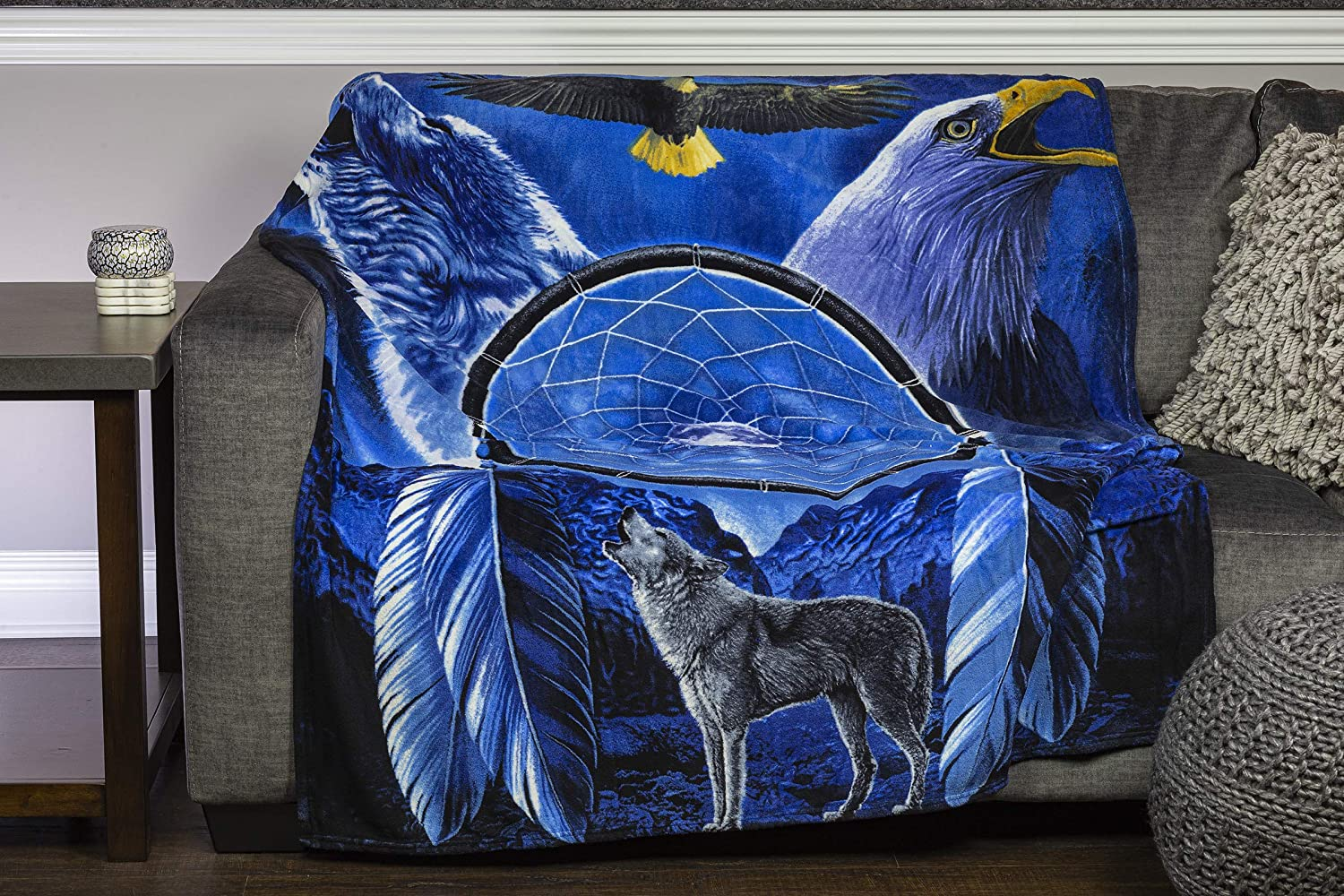 Dawhud Direct Dream Catcher with Wolf and Bald Eagle Blue Fleece Throw Blanket 50 X 60