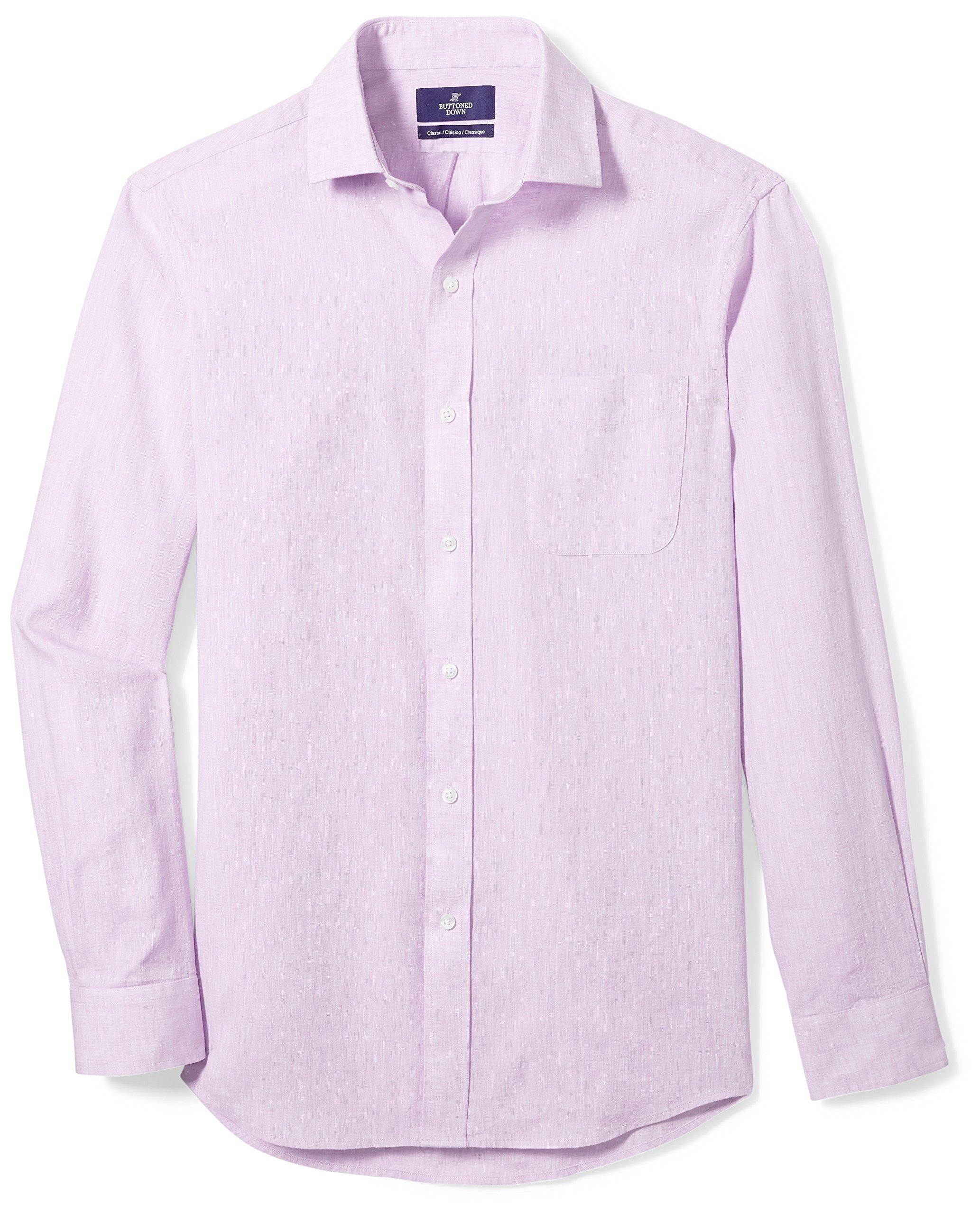 Buttoned Down Men's Classic Fit Spread-Collar Linen Sport Shirt, Purple, 15-15.5'' Neck 32-33'' Sleeve
