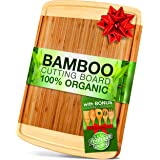 Bamboo Cutting Board With Drip Groove [100% Natural] - Anti-Bacterial, EXTRA LARGE, Damage Resistant + Extra BONUS Set of 5 Bamboo Cooking Utensils