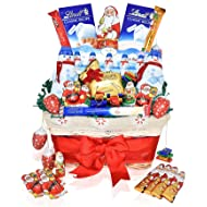 Christmas Lindt Chocolate Variety Gift Basket - Lindt Hazelnut & Milk Classic Chocolate Bars, Santa's, Snowmen, Reindeer and more - Christmas Gift Pack for Family, Friends, Her, Him and more