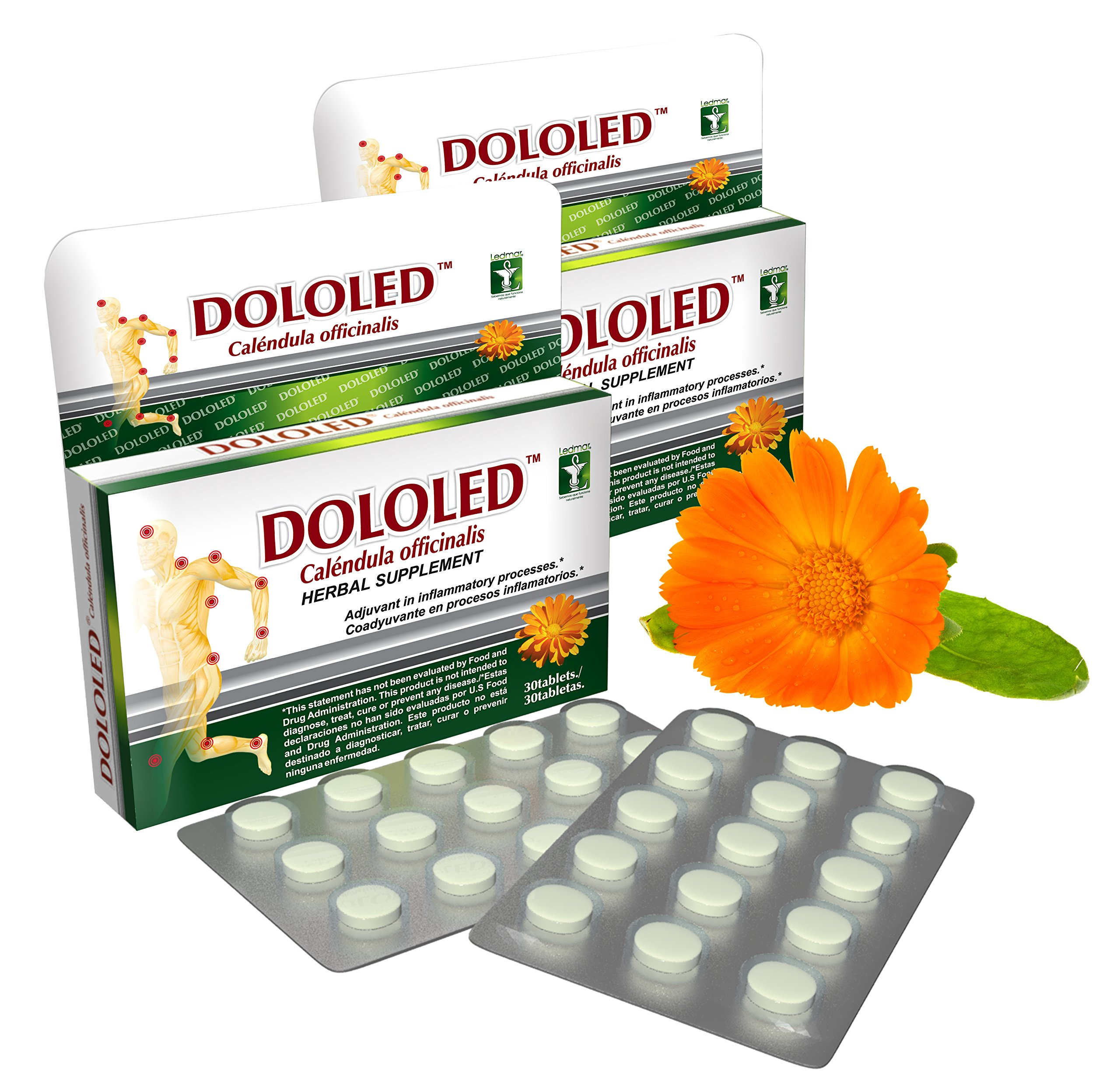 DOLOLED Calendula Officinalis 2 Pack (30 Tablets, Total 60 Tablets) 150 mg Each Tablet, for All Types of Pain, Anti-inflammatory, 100% Natural, Antioxidant. Non GMO by Ledmar