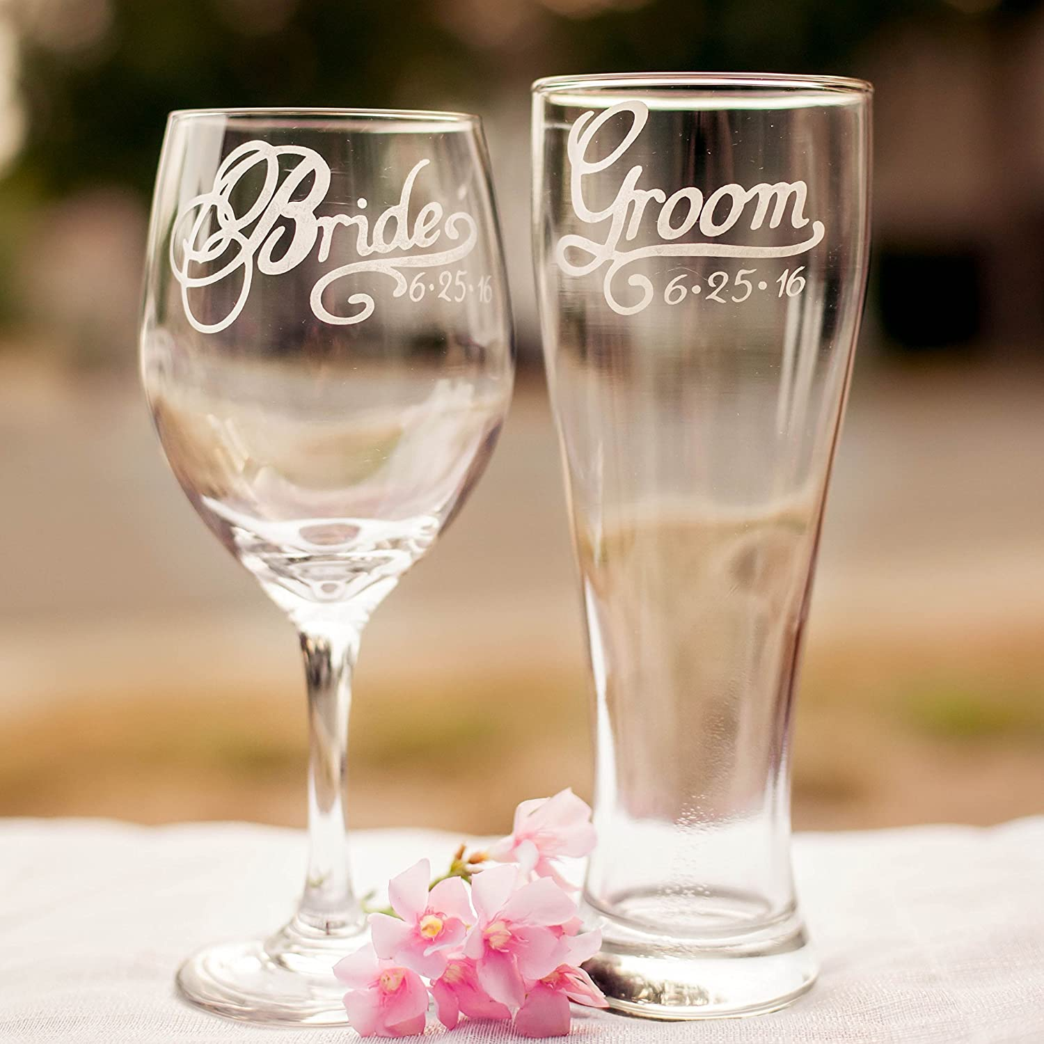 Amazon Bride Wine Glass And Groom Beer Glass With Wedding Date