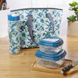 Fit & Fresh Huntsville Lunch Bag Kit for Women, Includes Container Set and Matching 20 oz. Tritan Plastic Water Bottle, Teal Mint Petal Play