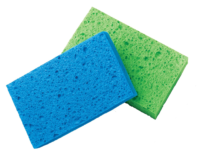 LANTEEM Non-Scratch Scrub Sponge Blue scourer//Yellow sponge Great for Non-Stick Cookware 36