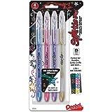 Pentel Sparkle Pop Metallic Gel Pen, (1.0mm) Bold Line, Assorted Colors, 4-Pack, Bold (K91BP4M1)