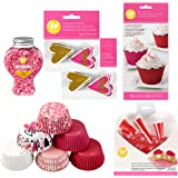 Wilton Baking Cup Valentine's Day Glitter Cupcake Decorating Kit, Assorted, 6-Piece
