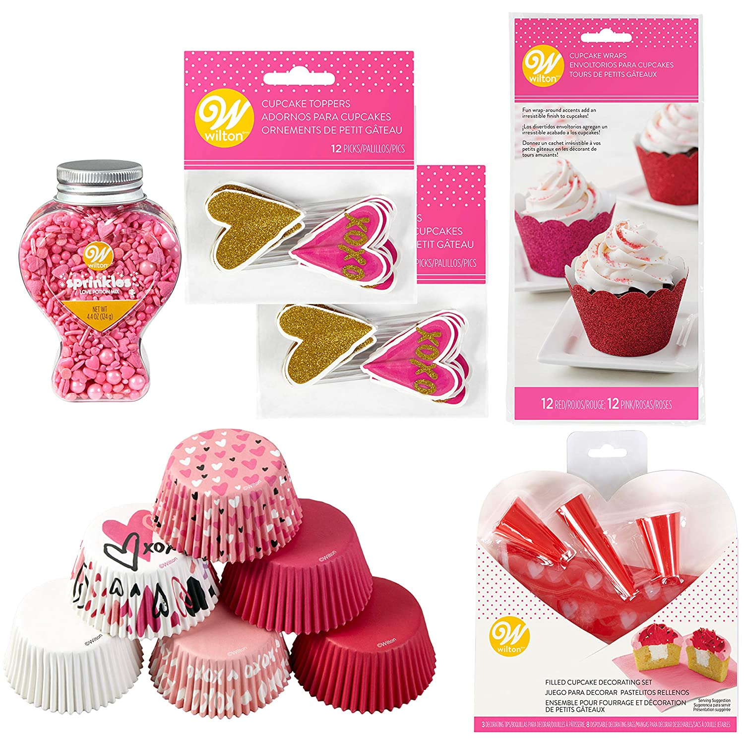 Amazon.com: Wilton Valentines Day Glitter Cupcake Decorating Kit, 6-Piece: Kitchen & Dining