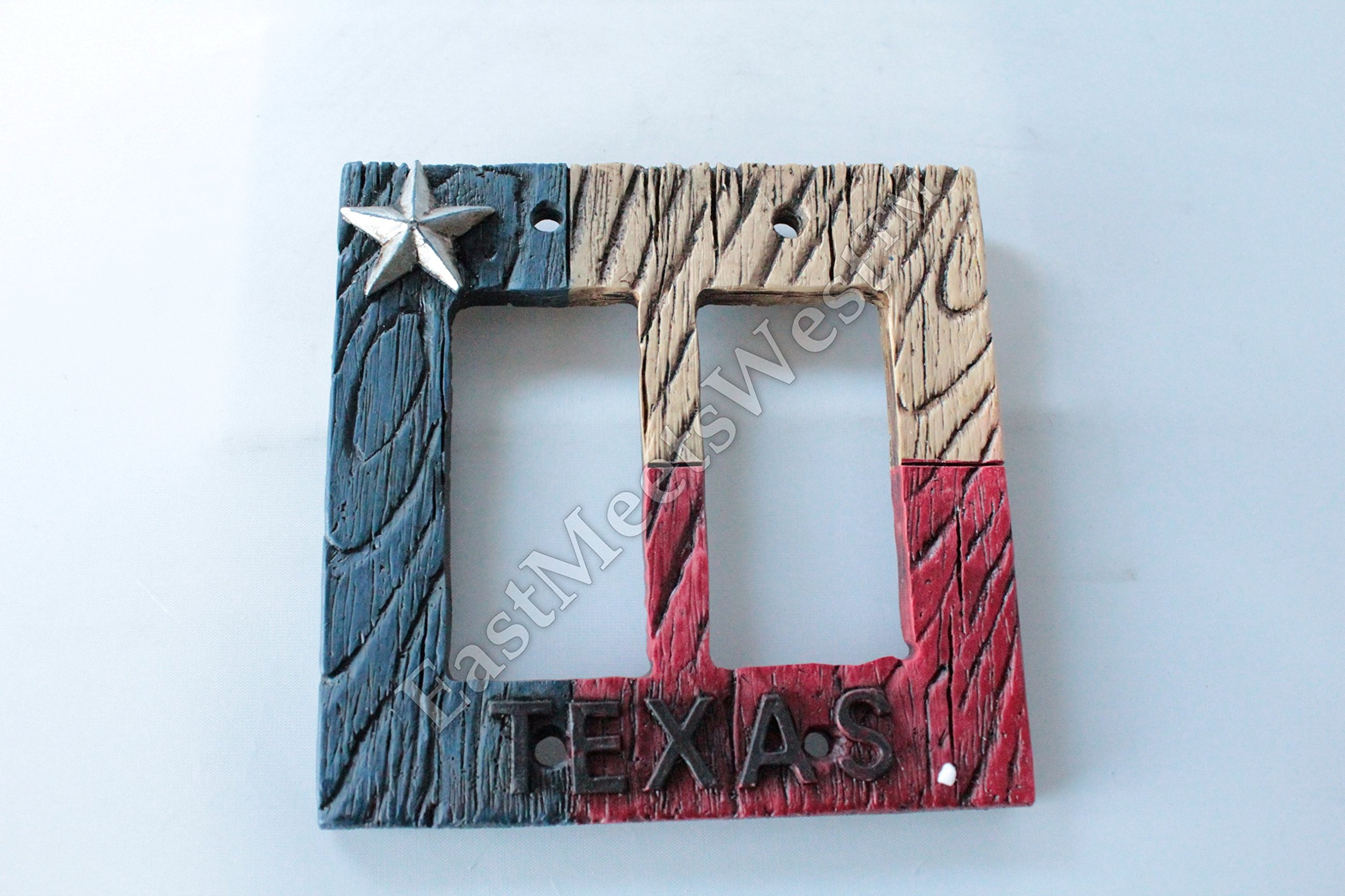Western Cowboy Texas Flag Star Switch Plate Covers Electric Outlet Rustic Wood Look Decor (Double Rocker)