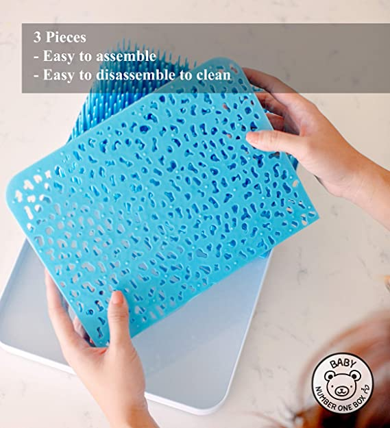 Escurridor grande y azul, para colocar en la encimera y secar los artículos para alimentar a los lactantes, como platos, partes de bomba, biberones, ...
