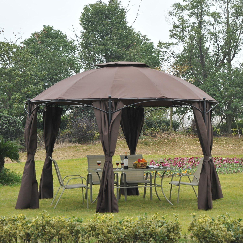 Outsunny – 3, 65 m Redondo Patio jardín Metal Enmarcado Gazebo Marquee Carpa toldo Refugio Pavilion con Paredes Laterales – café: Amazon.es: Jardín