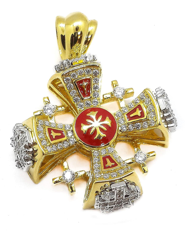 Jerusalem Cross Pendant Silver 925 Yellow Gold 18k Plated Red Enamel Swarovski 1.3