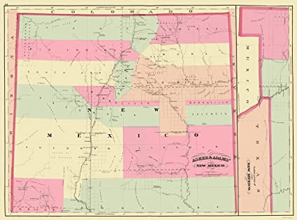 Old State Map - New Mexico - Asher and Adams 1874 - 23 x 31.00 -