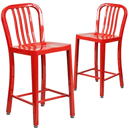 Awesome Flash Furniture 2 Pk 24 High Red Metal Indoor Outdoor Counter Height Stool With Vertical Slat Back Pdpeps Interior Chair Design Pdpepsorg
