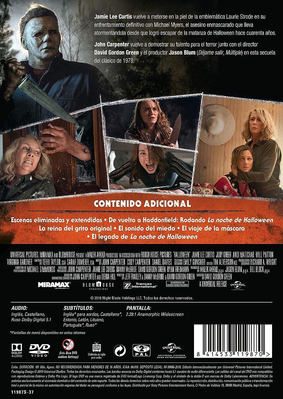 La Noche De Halloween [DVD]: Amazon.es: Jamie Lee Curtis, Judy Greer, Andi Matichak, David Gordon Green, Jamie Lee Curtis, Judy Greer, Blumhouse Productions: Cine y Series TV