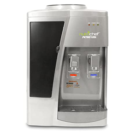 Nutrichef Countertop Water Cooler Dispenser Hot Cold Water With Child Safety Lock S