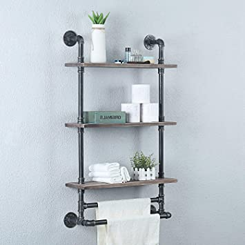 Weven Industrial Pipe Bathroom Shelves Wall Mounted With 3 Towel