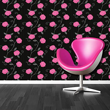 Flower wallpaper puccini floral trail leaf black pink taupe shiny flower wallpaper puccini floral trail leaf black pink taupe shiny silver debona mightylinksfo
