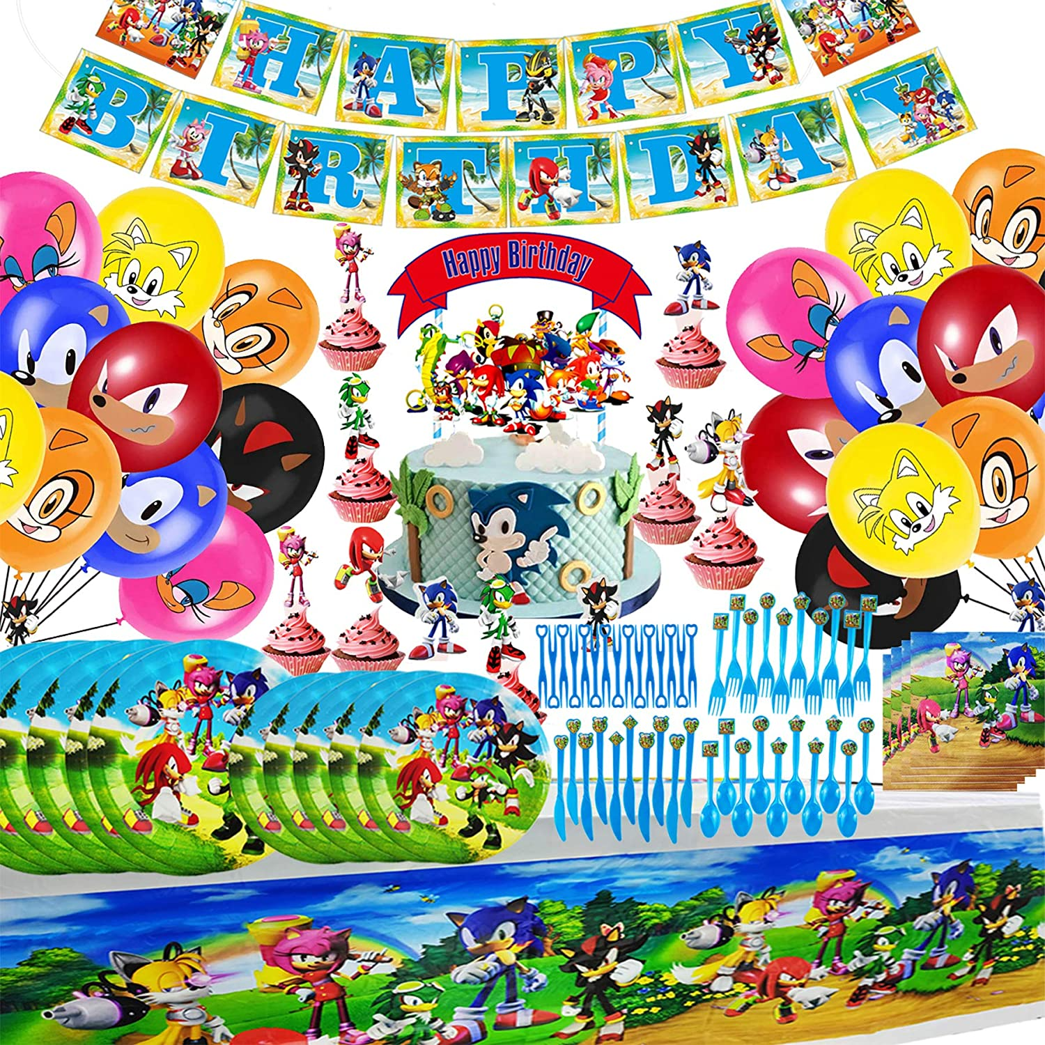 Sonic The Hedgehog Party Supplies, Sonic Flatware, Banner, Balloons, Plates, Napkins, Fork, Spoons, knives, Cake Toppers, Mini fruit fork, Tablecloth Party Decoration Kids Boys Girl and Baby Shower Birthday Party Favors, Sonic The Hedgehog Birthday Party Dessert Set