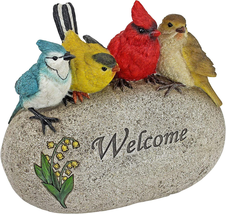 Design Toscano QM7512040 Birdy Welcome Garden Stone Statue, Medium, Full Color
