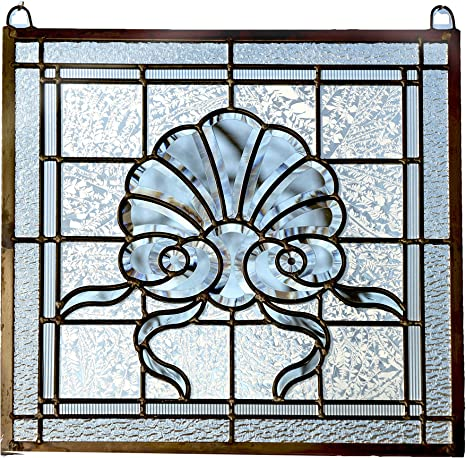 Clear stained glass beveled art