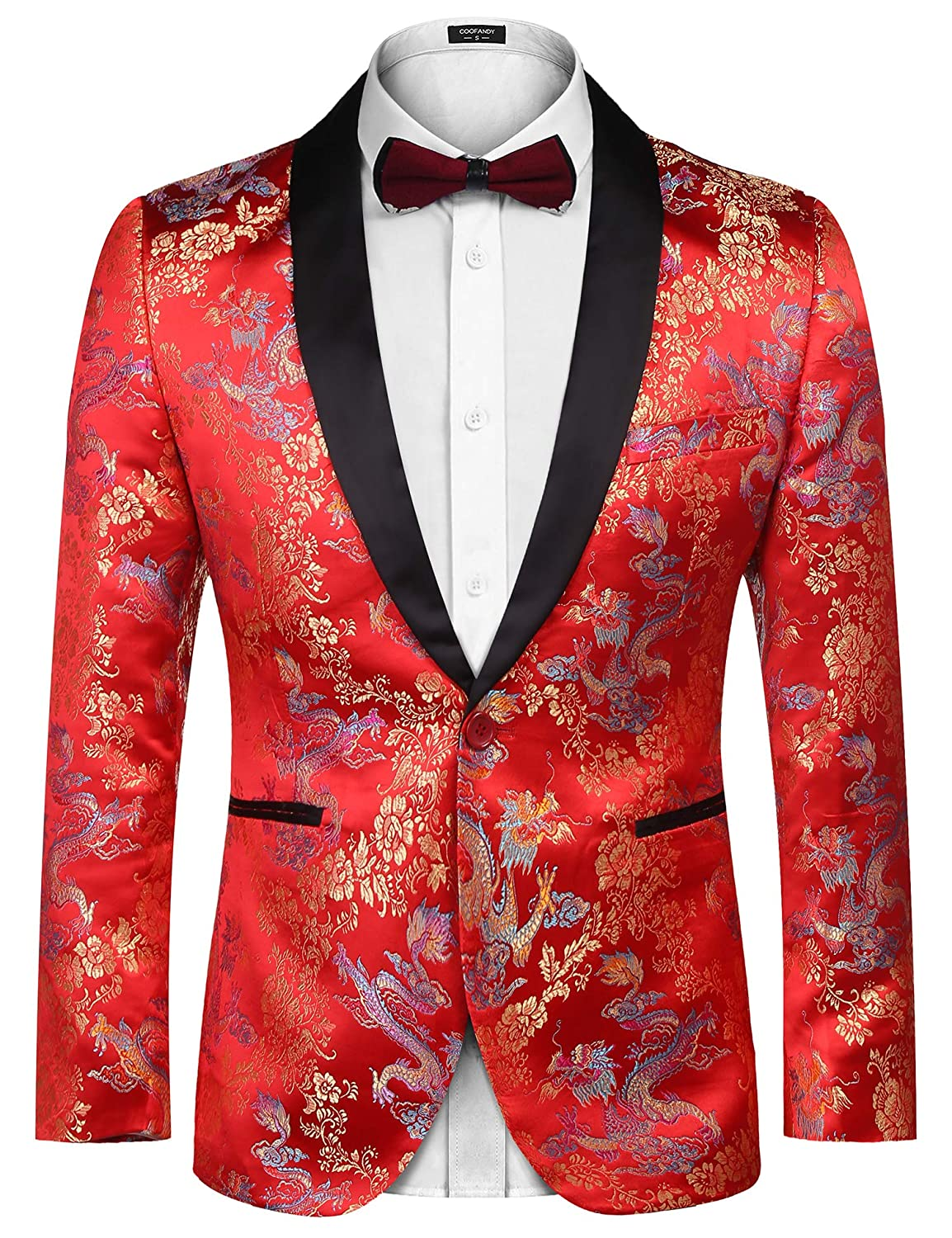 Coofandy Mens Floral Dress Suit Embroidered Wedding Blazer Dinner Tuxedo Jacket for Christmas New Years Party