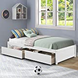 AOOSWEER Twin Platform Bed Frame with 2 Storage Drawers, Wood Twin Bed Frames for Kids Toddler Girls Boys, 10 Slats Support,