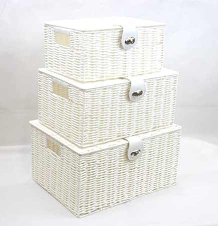 Arpan Set Of 3 Resin Woven Storage Basket Box With Lid U0026 Lock (White)