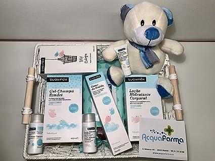 SUAVINEX Cesta osito para regalo Toallitas limpiadoras 70 unidades + Baby Cologne Suavinex 100 ml +
