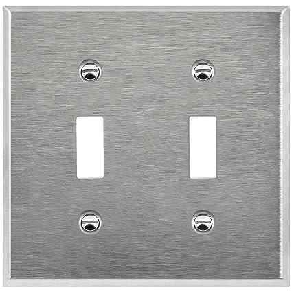 Amazon.com: Enerlites placa de pared de doble conmutador, en ...